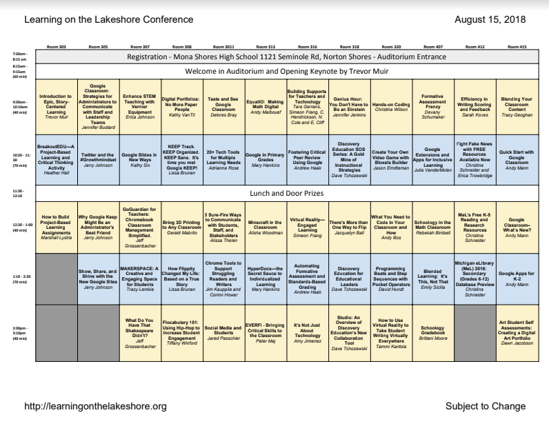 Learning on the Lakeshore Conference Schedule